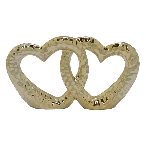 Ceramic Heart Sculpture in Gold Porcelain 9in L x 2in W x 5in H