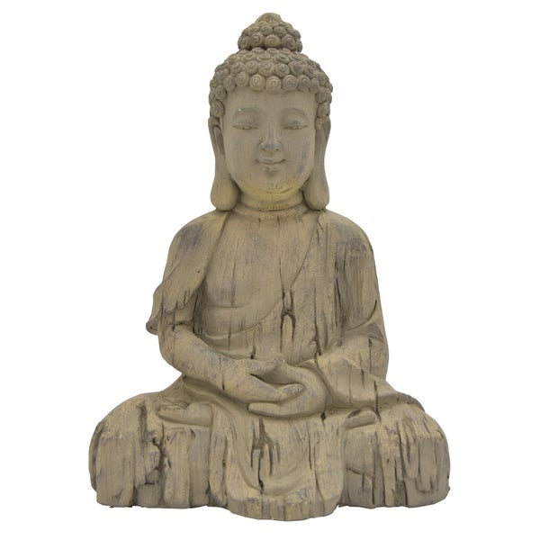 Sitting Buddha in Gray Resin / Magnesium 14in L x 10in W x 19in H