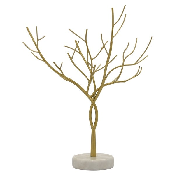 Metal Tree W/marble Base in Gold Metal 14in L x 6in W x 17in H