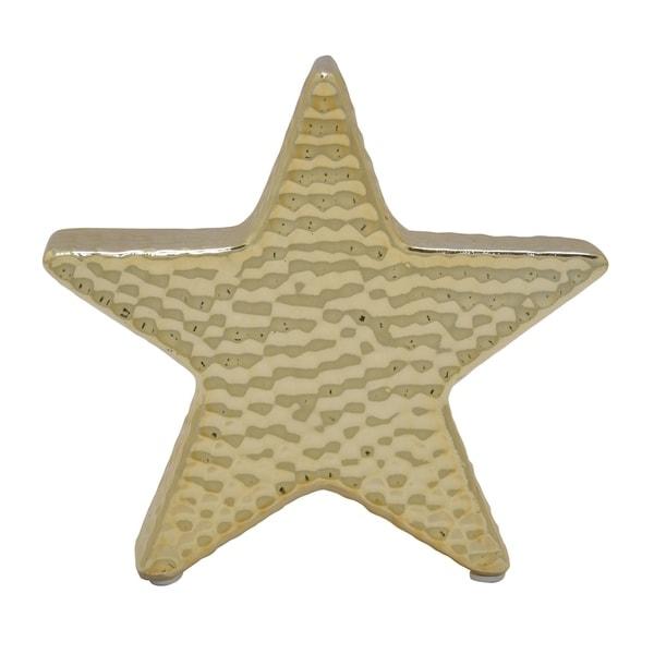 Ceramic Star Decoration in Gold Porcelain 6in L x 1in W x 6in H
