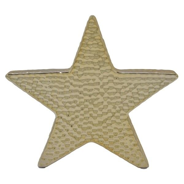 Ceramic Star Decoration in Gold Porcelain 9in L x 2in W x 9in H