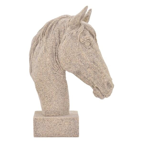 "Three Hands White Horse Head Figurine, 12"""