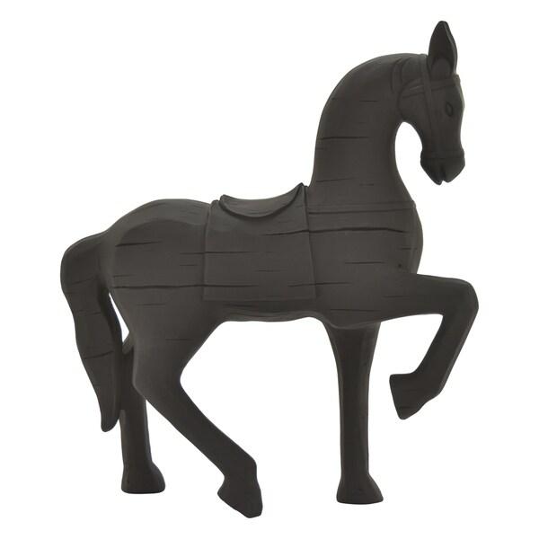 Horse Figurine in Black Resin / Magnesium 16in L x 6in W x 18in H