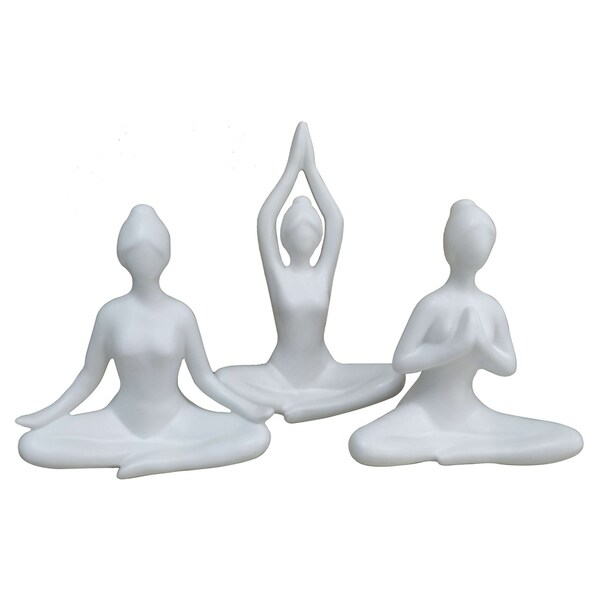 Ceramic Yoga Figurines-Set of 3 in White Porcelain 6inL x 3inW x 7inH