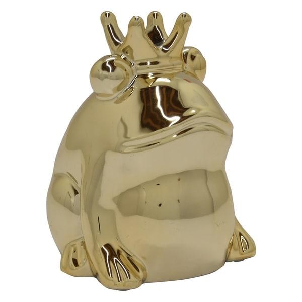 Ceramic Frog Table Top in Gold Porcelain 4in L x 4in W x 6in H