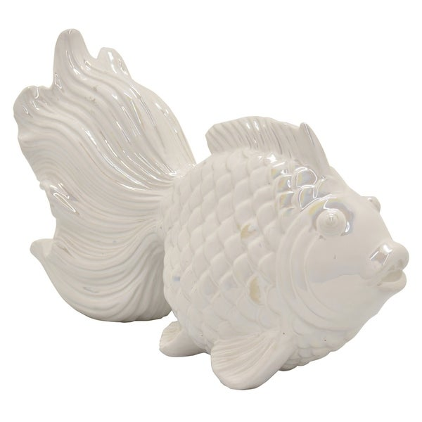 Ceramic Fish Tabletop in White Porcelain 15in L x 6in W x 9in H