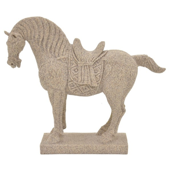 Horse Figurine in White Resin / Magnesium 16in L x 5in W x 14in H