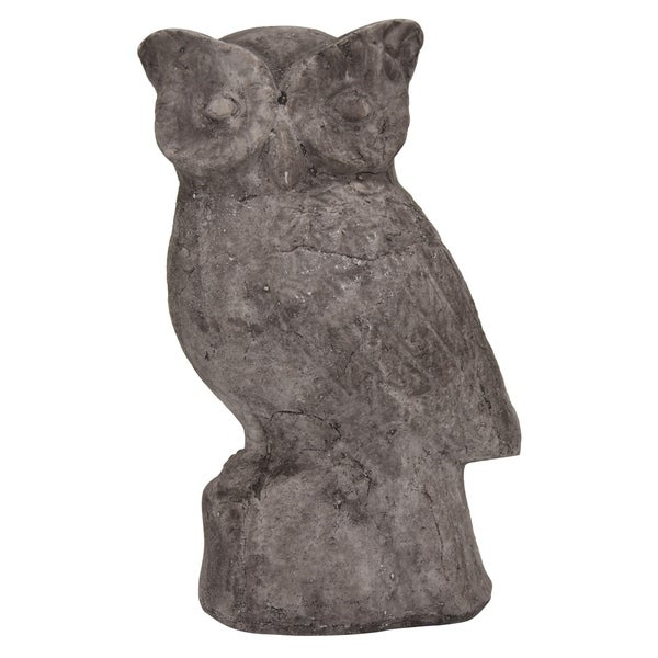 Owl Garden Decoration in White Terracotta 7in L x 5in W x 10in H