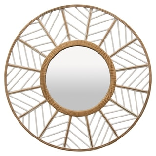 Rattan Wall Mirror in White Natural Fiber 33in L x 1in W x 33in H