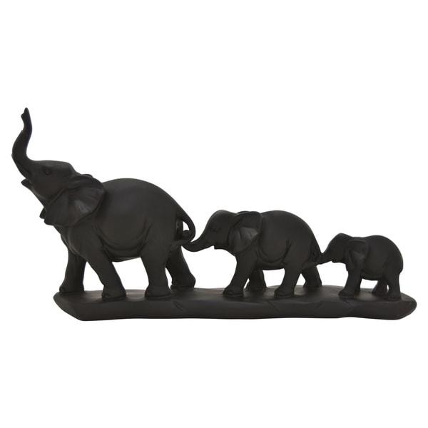 Elephant Family On Base in Black Resin 15in L x 3in W x 8in H