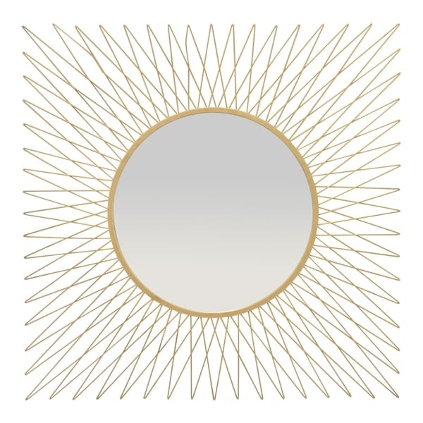 Three Hands Wall Mirror - Gold in Gold Metal 36in L x 1in W x 36in H