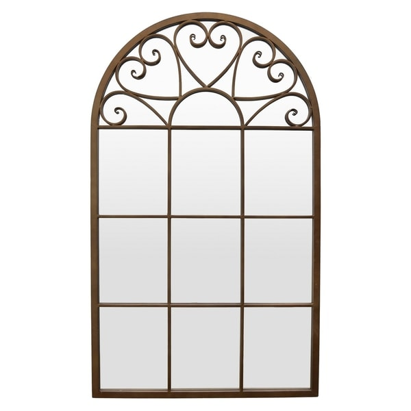 Metal Wall Mirror Decoration in Brown Metal 26in L x 1in W x 44in H