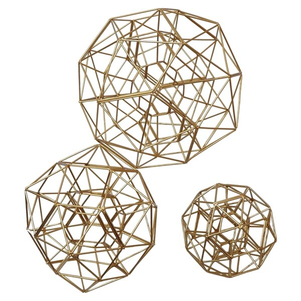 Metal Orb Set Of 3- Gold Plate in Gold Metal 11in L x 11in W x 11in H