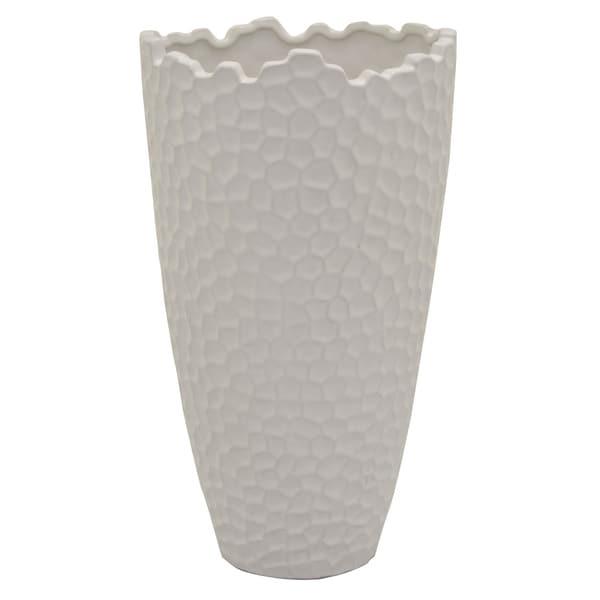 Three Hands Ceramic Vase in White Porcelain 10in L x 10in W x 18in H