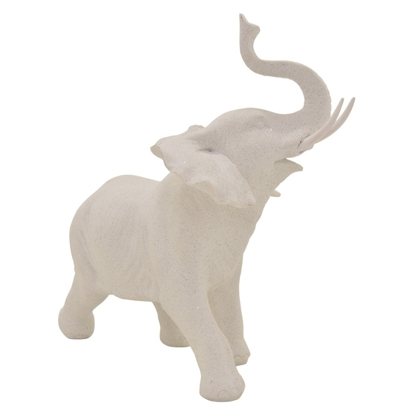 Elephant Tabletop in White Resin / Magnesium 13in L x 6in W x 12in H