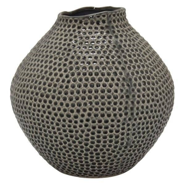 Three Hands Ceramic Vase in Gray Porcelain 12in L x 12in W x 12in H