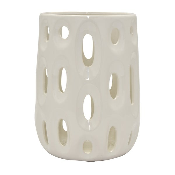 Ceramic Vase Pierced in White Porcelain 9in L x 9in W x 12inH