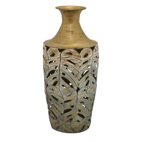 Three Hands Metal Vase in Gold Metal 9in L x 9in W x 19in H