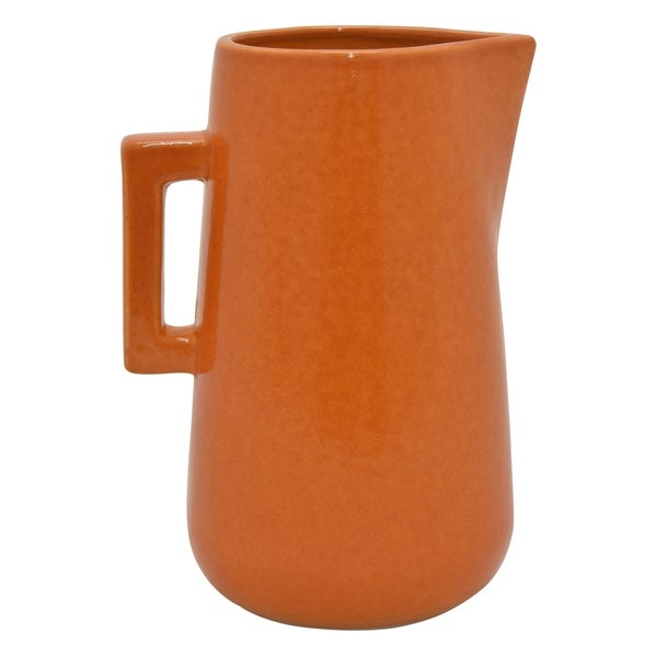 Three Hands Ceramic Vase in Orange Porcelain 7in L x 6in W x 10in H