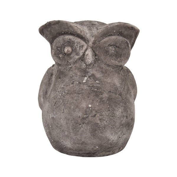Owl Garden Decoration in White Terracotta 5in L x 4in W x 6in H