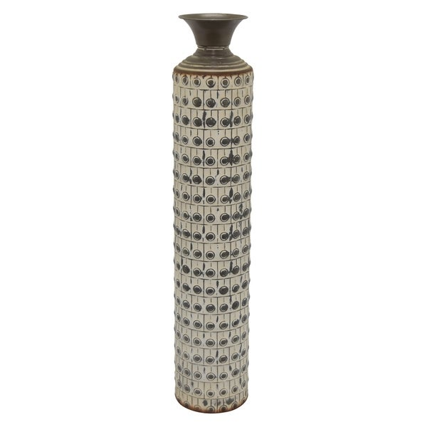 Three Hands Metal Vase in White Metal 6in L x 6in W x 36in H