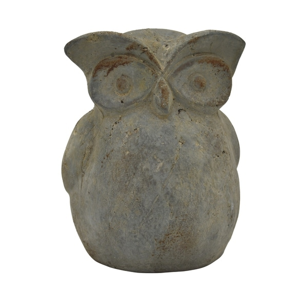Owl Garden Decoration in Green Terracotta 5in L x 4in W x 6in H