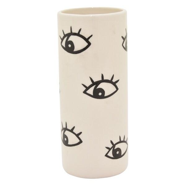 Three Hands Ceramic Vase in White Porcelain 3in L x 3in W x 8in H