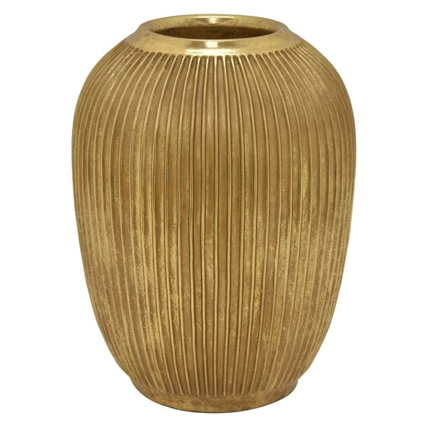 Three Hands Decorative Vase in Gold Resin 12in L x 12in W x 15in H