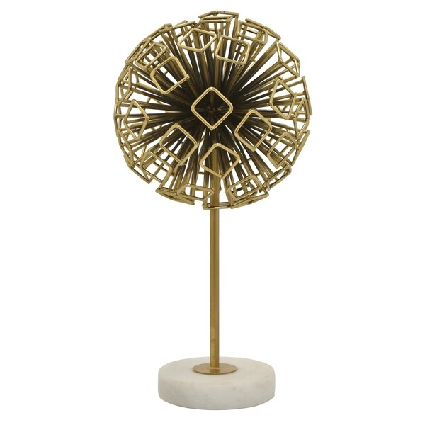 Abstract Sphere W/marble Base in Gold Metal 8in L x 8in W x 16in H