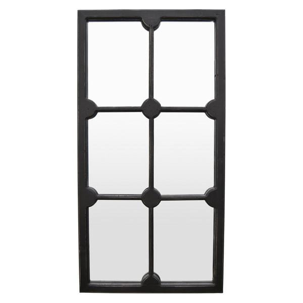 Wall Mirror Decorration in Black Wood 24in L x 2in W x 46in H