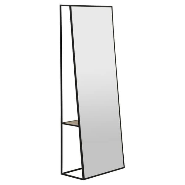 Floor Mirror With Wood Shelf in Black Metal 24in L x 12in W x 64in H