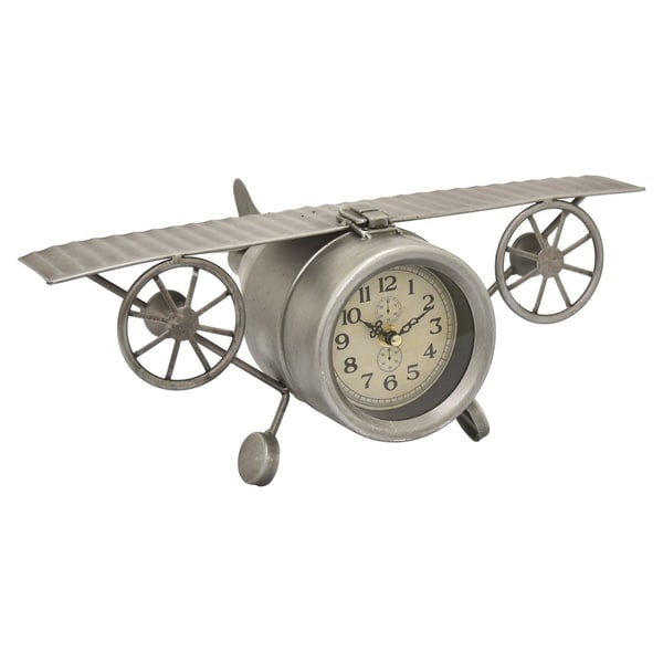 Metal Table Top Clock in Silver Metal 16in L x 10in W x 6in H
