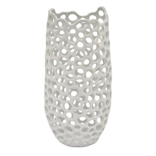Three Hands Ceramic Vase in White Porcelain 7in L x 6in W x 16in H