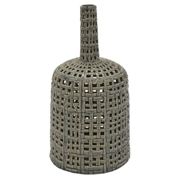 Ceramic Pierced Vase in Gray Porcelain 9in L x 9in W x 15in H