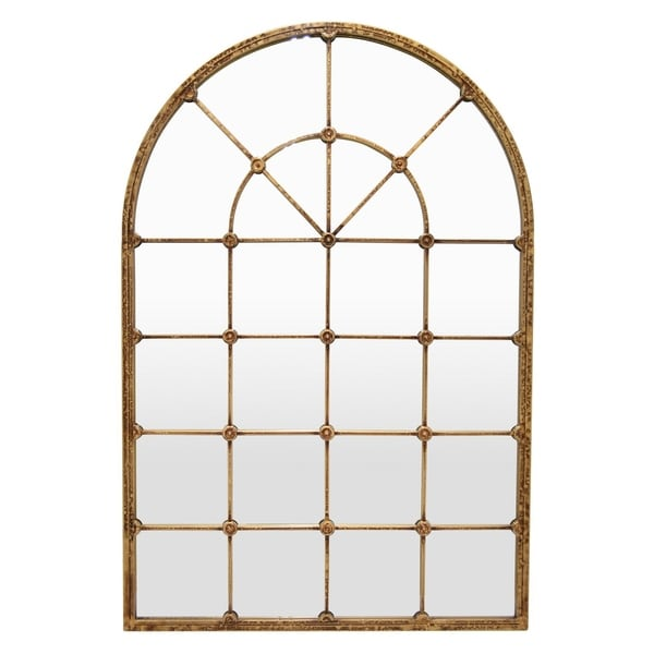 Metal Wall Mirror Decoration in Gold Metal 36in L x 1in W x 53in H