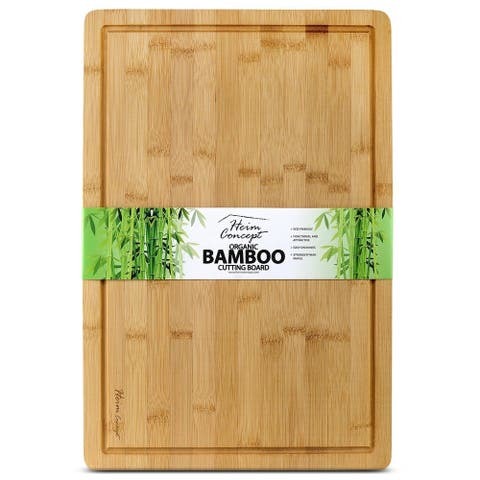 Heim Concept Premium Bamboo Large Cutting Board and Serving Tray Drip Groove