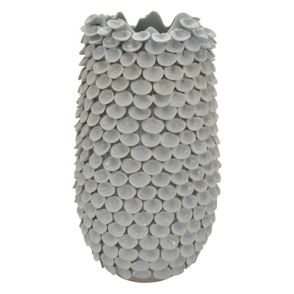 Three Hands Ceramic Vase in Blue Porcelain 11in L x 11in W x 20in H