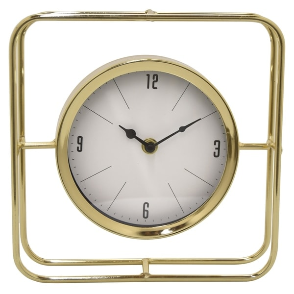Three Hands Table Top Clock in Gold Metal 9in L x 2in W x 9in H