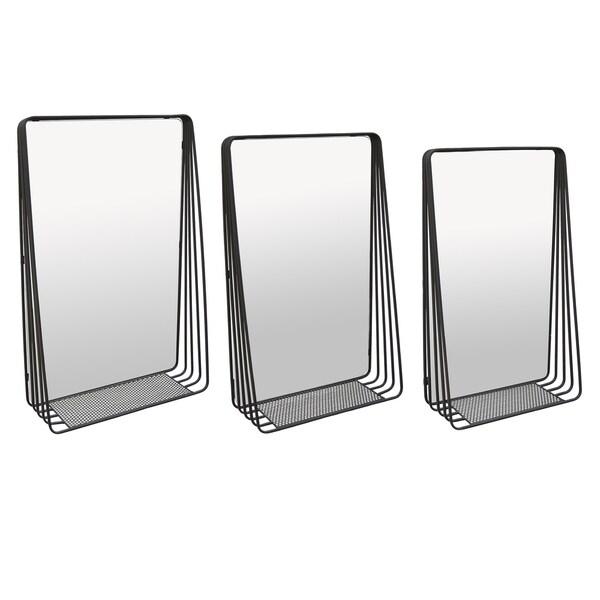 Metal Wall Mirror W/shelf Set of 3 in Black Metal 18inL x 6inW x28inH