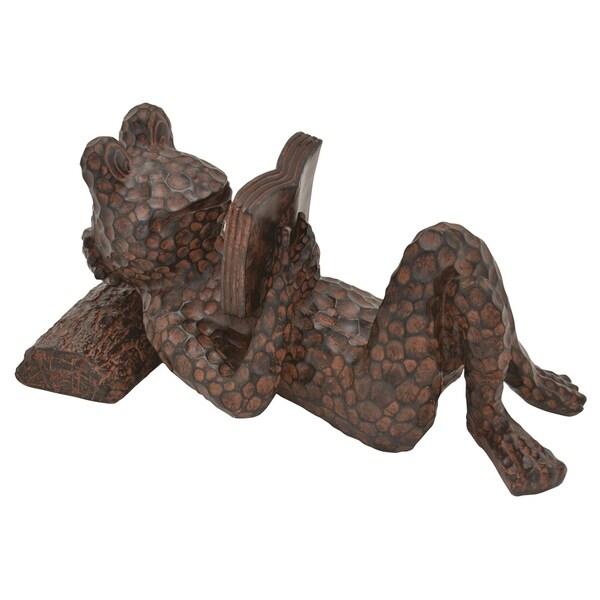 Frog Figurine Tabletop in Bronze Resin 15in L x 8in W x 7in H