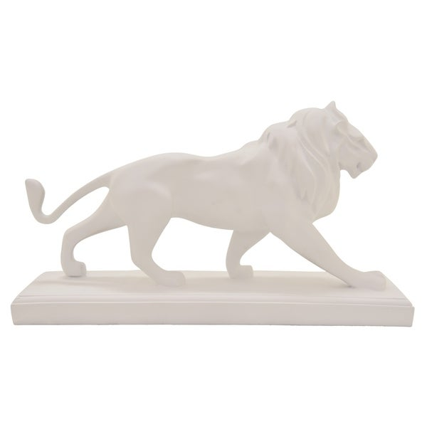 Lion On Base in White Resin / Magnesium 19in L x 6in W x 10in H
