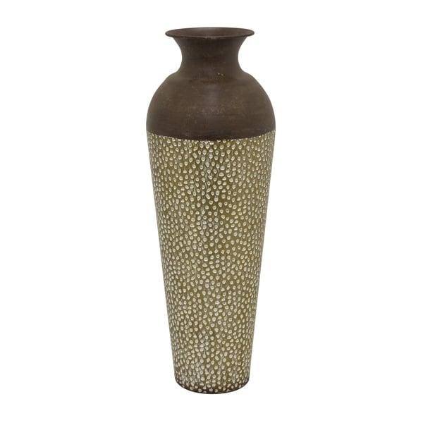 Three Hands Metal Vase in Brown Metal 9in L x 9in W x 24in H