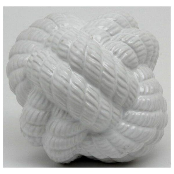 Ceramic Knot Decoration in White Porcelain 6in L x 6in W x 6in H