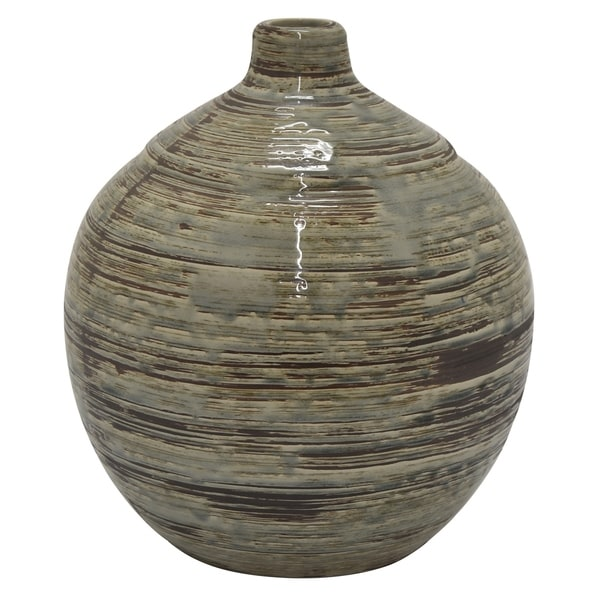 Three Hands Vase in Gray Porcelain-Ceramic 12in L x 12in W x 14in H