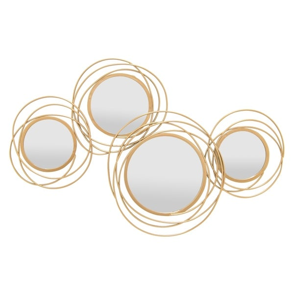 Wall Mirror Decoration- Gold in Gold Metal 42in L x 1in W x 25in H
