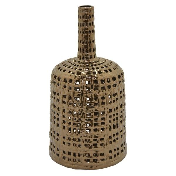 Ceramic Pierced Vase in Bronze Porcelain 9in L x 9in W x 15in H