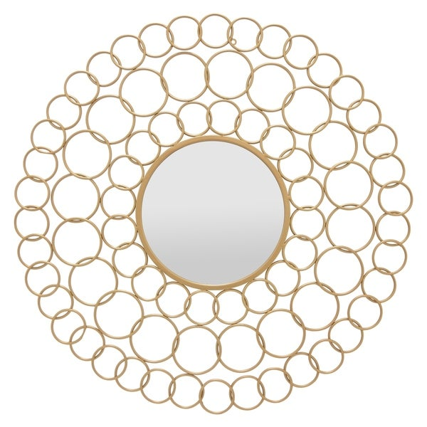 """Three Hands Gold Wall Mirror, Gold, 35.75"""""""