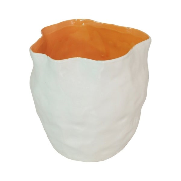 Ceramic Vase - White/orange in White Porcelain 5in L x 5in W x 6in H