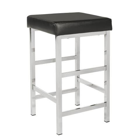 Porch & Den Mulloy Chrome 26-inch Backless Stool