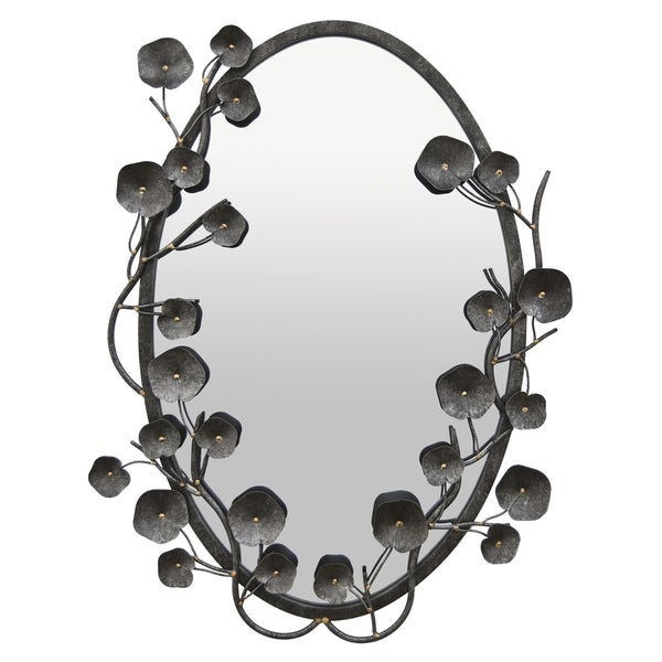 Three Hands Metal Wall Mirror in Black Metal 21in L x 2in W x 30in H